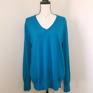 Womens NWOT J. Crew blue V neck merino sweater XL